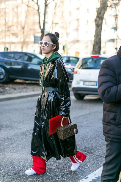 Coat: leather sunglasses tumblr black vinyl bag boxed bag pants red pants wide-leg pants sneakers