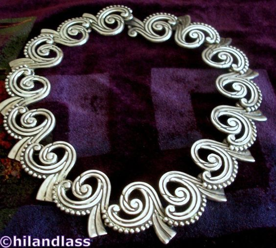 RARE LOS CASTILLO VTG TAXCO MEXICO MEXICAN STERLING SILVER SCROLL NECKLACE #LosCastillo