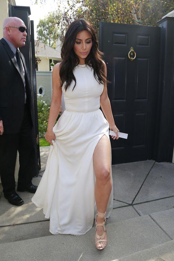 kim kardashian long white slitted dress kim kardashian style