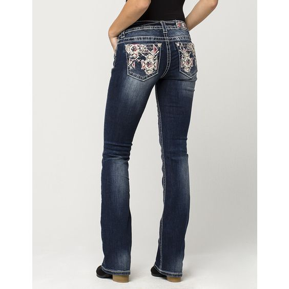 Miss Me Flannel Fusion Womens Bootcut Jeans ($45) ❤ liked on