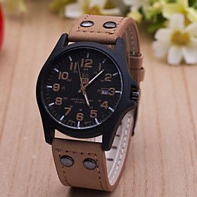 #Ladies' Round Dial Case Leather Watch Brand Fashion Quartz Watch