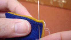 Truco para esconder el primer punto al coser fieltro, paso a paso