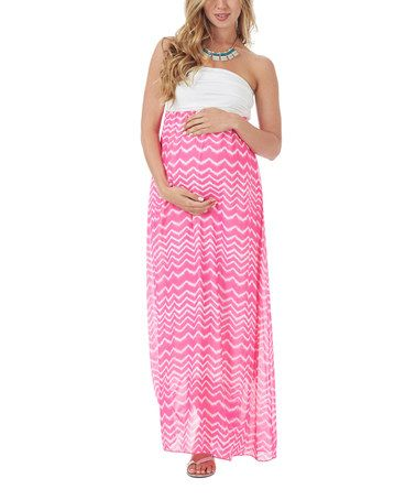 Love this Neon Pink Wave Strapless Maternity Maxi Dress by PinkBlush Maternity on #zulily! #zulilyfinds