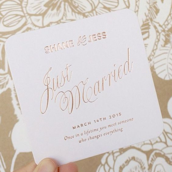"""I am obsessed with all of our wedding stationary! It was perfection, just like my husband #justmarried #coasters #thedetails #weddingspamming @elliesnow"""