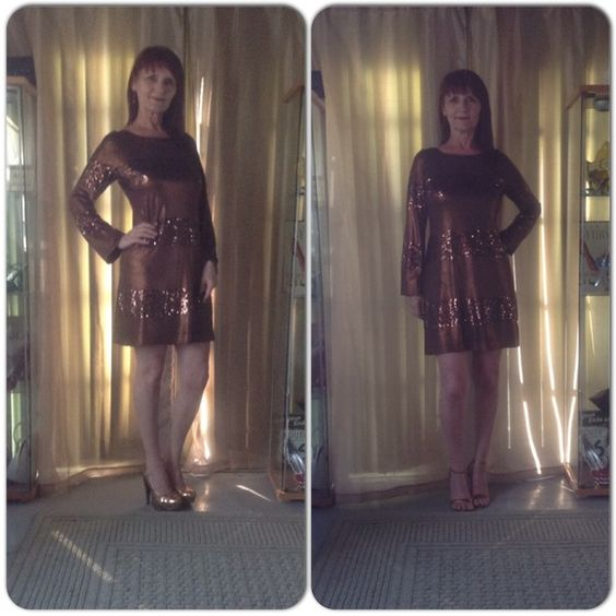 BRONZE CASSINI COCKTAIL DRESS HOST PICK DATE NIGHT New bronze Cassini fully lined with bell sleeves. Wide bands of copper/bronze sequins make this dress dazzle! Nice flare from the hip design allows for comfort while looking glamorous. Slip over the head, no zippers, extra sequins & valued over $200! Absolutely stunning dress visually & to wear!  Not much else to say about this dress! I paired it with copper shoes to pick up the copper sparkle from the sequins! Oleg Cassini Dresses