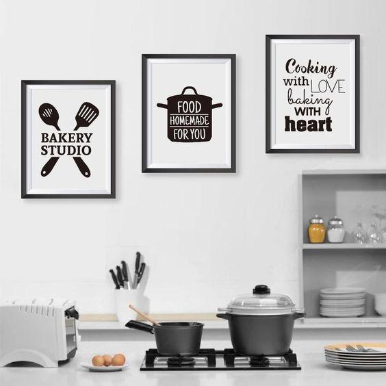Decoração da cozinha com posters