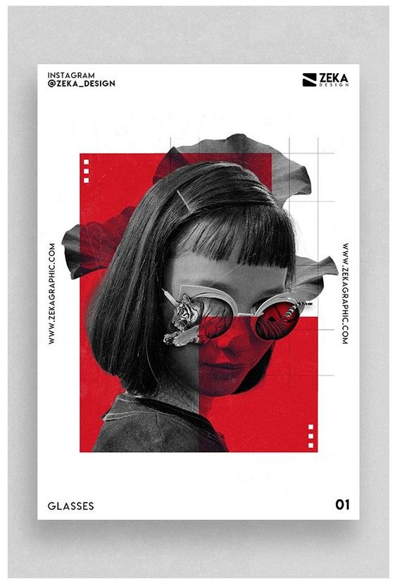 Glasses #minimalist #poster #design #inspiration #graphics #minimalistposterdesigninspirationgraphics Graphic Design Project called Glasses with Digital Collage elements and Minimal style, I used creative Typography elements and geometric shapes.