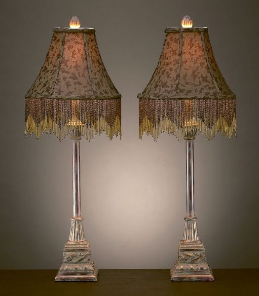 Leopard Animal Print Beaded Shade Buffet Table Lamps Pair