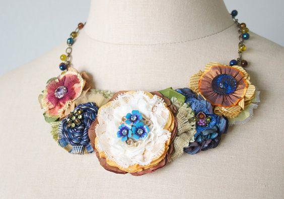 Colorful Floral Bib Necklace, Fabric Flower Necklace, Statement Necklace, Unique…
