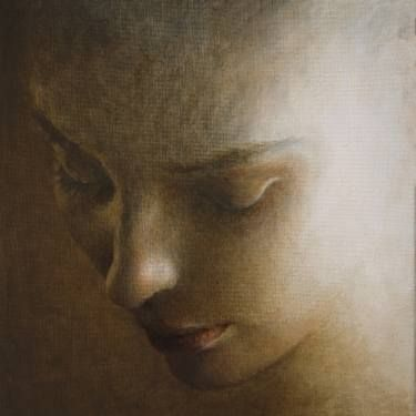 """Saatchi Art Artist Ilir Pojani; Painting, """"Young woman looking downwards. (Sold)"""" #art"""