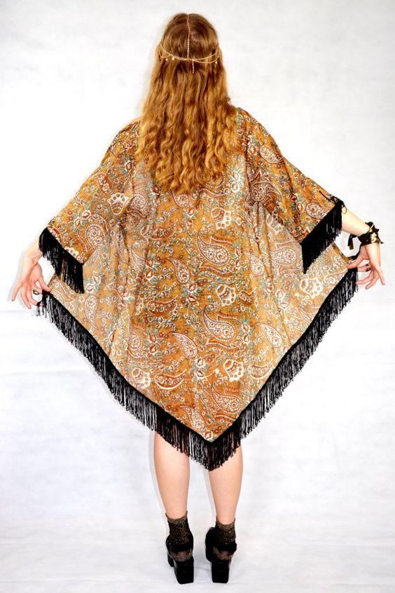 Boho Kimono Fringe Hippie Kimono Boho Paisley Kimono by kimonoo