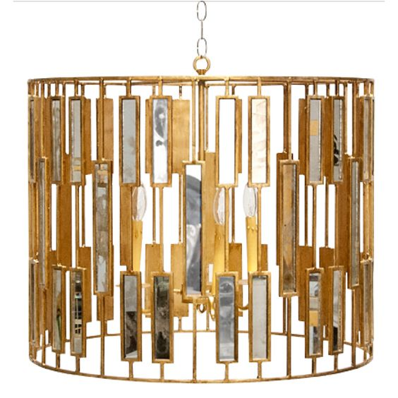 Worlds Away ChRialto Gold Leaf Mirror Pendant Chandelier Large