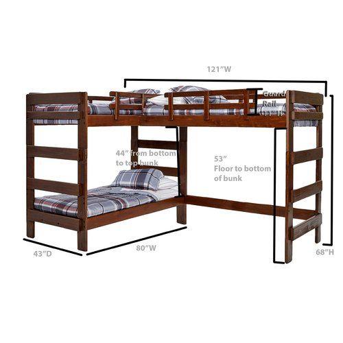 Viv Rae Deondre Twin L Shaped Triple Bunk Bed Reviews Wayfair Loft Bunk Beds Bunk Beds Bunk Bed Plans