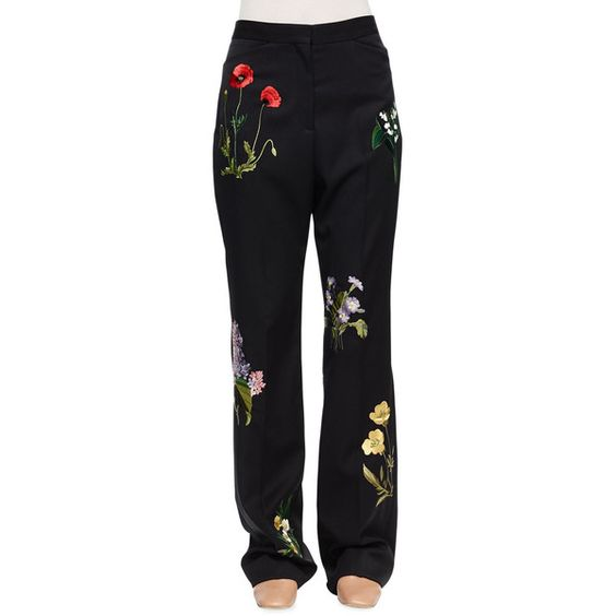 Stella McCartney Floral-Embroidered Tuxedo Trousers ($2,145) ❤ liked on Polyvore featuring pants, black, high waisted flared pants, high waisted pants, tux pants, flared trousers and lined pants