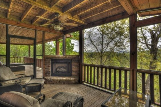 Screened Porch With Fireplace I Like Corner Fireplace Could Even Have A Tv