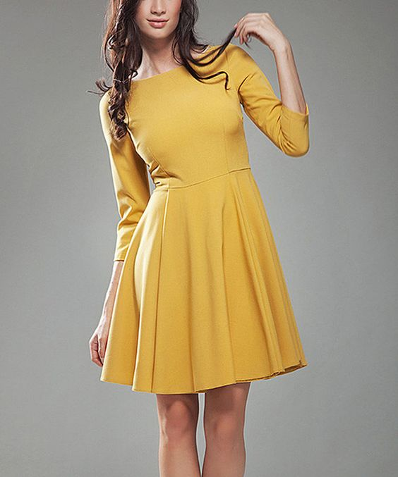 Look at this Mustard Fit & Flare Dress on #zulily today!