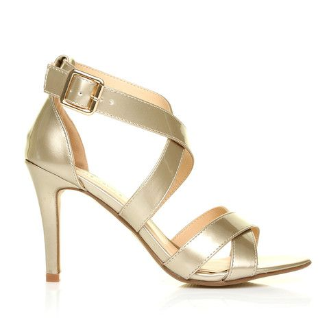 SOPHIE Champagne Gold Metallic Strappy High Heel Sandals | Leather ...