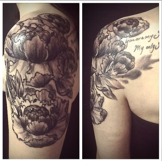 No Regrets Tattoo More At Tattoo Swag Com: Floral Peonies Quarter Sleeve Done By Joe Stamp At No