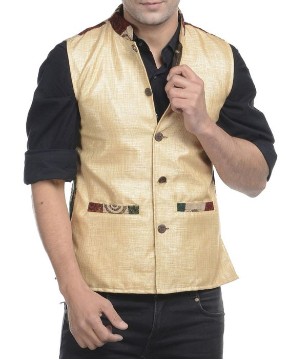 Beige jute mix and match nehru jacket   1. Beige jute mix and match jacket2. Chest size: Medium-40 inches, Large-42 inches, XL-44 inches3. Jacket length: 27 inches, Large-27 inches, 28, XL-44 inches