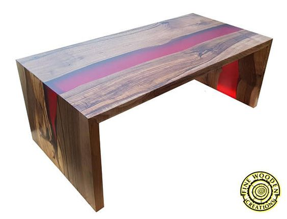 Double Waterfall River Coffee Table With Red Resin River Red