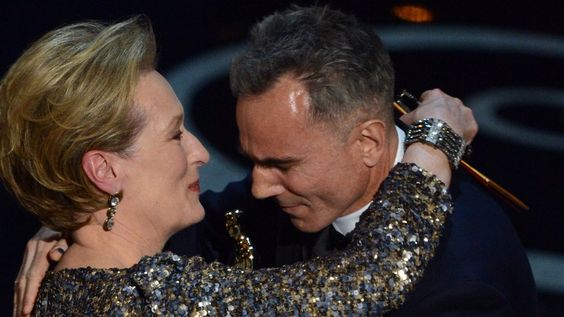 Daniel Day-Lewis was presented his Oscar by Meryl Streep. He made Academy Award history by becoming the only actor to have won the leading actor prize three times. His latest victory came for his portrayal of Abraham Lincoln in Steven Spielberg's historical drama.