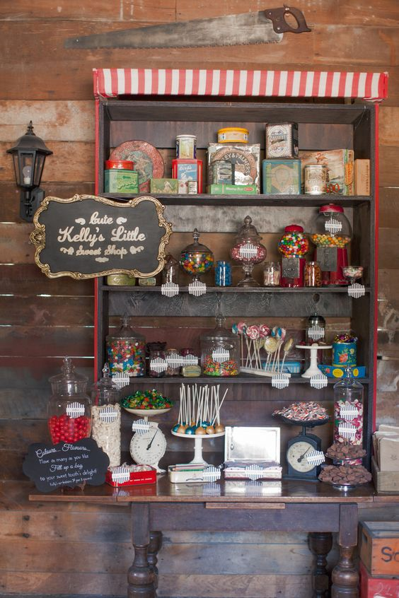 A good old-fashioned sweet shop.  This Candy shop and everything in it is available from Vintage & Pretty.    Photography by Candy Capco:
