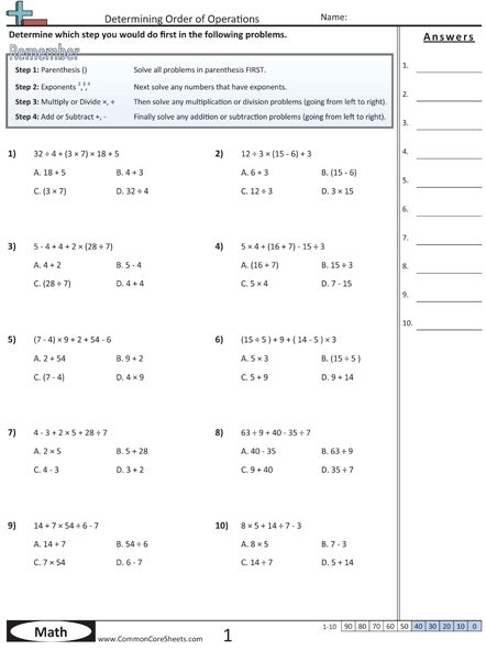 Printables Pemdas Worksheet order of operations pemdas worksheets math strategies worksheets