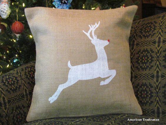 Burlap Pillow Rudolph Pillow Reindeer Pillow by PillowsOfPlenty
