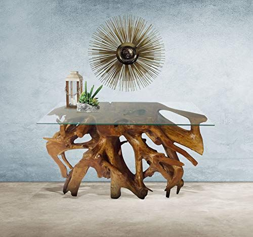 Genuine Teak Wood Root Console Table With Glass Top 48 Inch Made By Chic Teak Root Console Console Table Teak Root Console