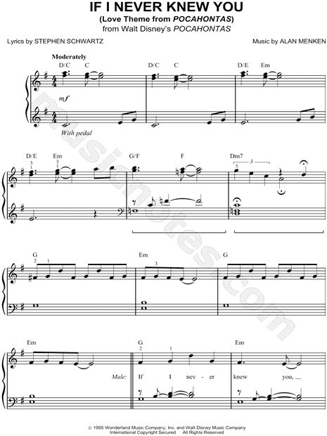 If I Never Knew You (Love Theme from Pocahontas) sheet music from Pocahontas