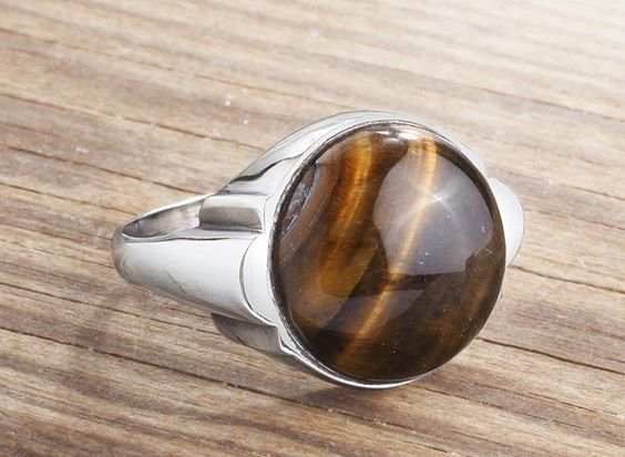925K Sterling Silver Gemstone Man Ring With Natural Tiger's Eye Stone(All Sizes) #istanbul_jewelry #Statement