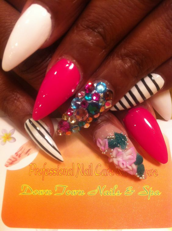 3d & jeweled nails...I like the color palette and design but with short nails, no points