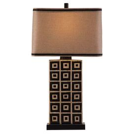 """Showcasing artful elegance and sculptural appeal, this beautiful table lamp offers stylish illumination for your writing desk, buffet, or nightstand.Product:  Table lamp Color: Black and tan   Features: Bold geometric pattern Accommodates: (1) CFLS bulb - not included      Dimensions: 36"""" H x 19"""" W"""