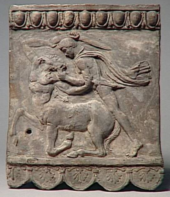 Terracotta relief, 1st century A.D. Terracotta relief with Lapith fighting with Centaur, 34 cm high. Louvre museum