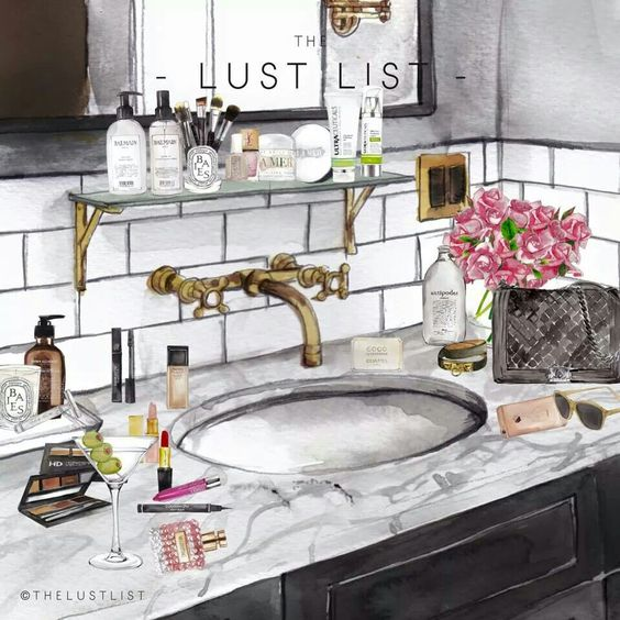 """More illustrations LINE BOTWIN """"girly illustrations """" #chic #fashion #girly #illustration #makeup #cosmetics #accessories #bag #bathroom #maquillage #cosmétiques #accessoires #sac #salledebain"""