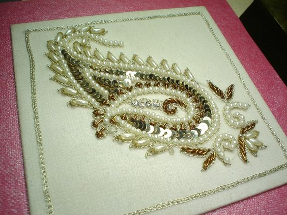 White work machine embroidery designs worked on canvas