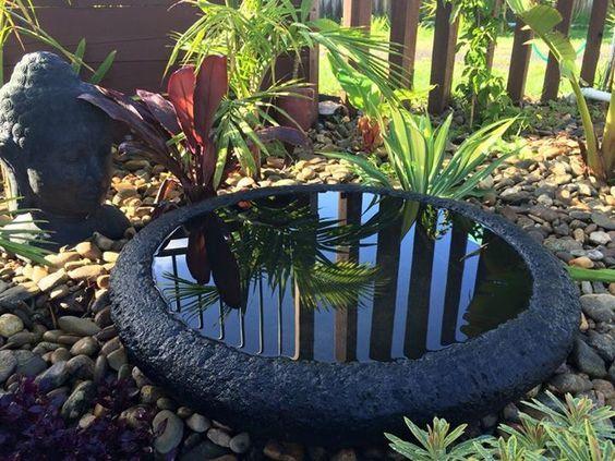 Lava Stone Bowl Water Basin Balinese Landscapeideas Containerwatergardens Container Water Gardens Balinese Garden Garden Arches