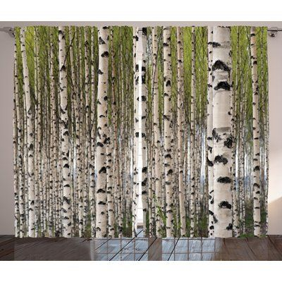 East Urban Home Tree Nature Theme Design Birch Trees With Leaves In Spring Pattern Tranquil Forest Digital Print Graphic P Tree Curtains Floral Room Birch Tree