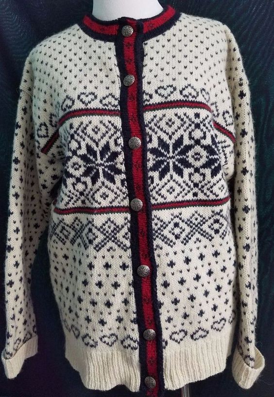 LL BEAN Button Front Cardigan Sweater Fair Isle Wool Made in USA Medium Nordic…