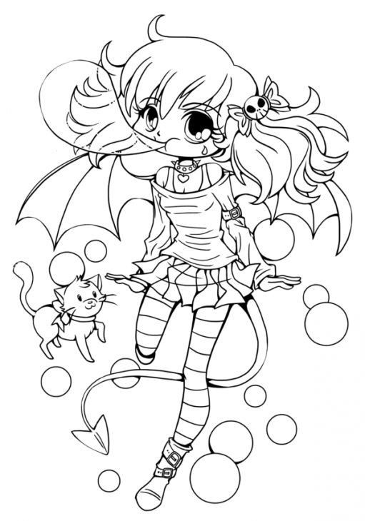 Coloring Pages For Girls Cute Chibi Girl Cute Coloring Sheet For Teenagers Halloween Coloring Pages Halloween Coloring Cute Coloring Pages