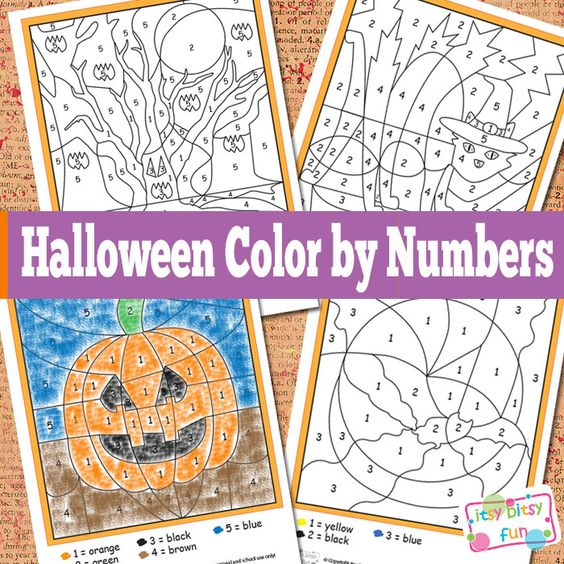 Halloween Color By Numbers Worksheets Hidden Pictures
