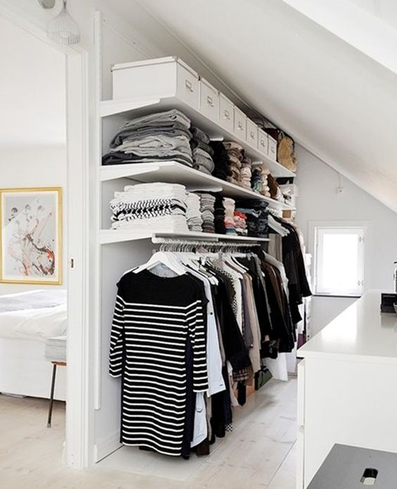 The closet walk in and closet on pinterest for Small room no closet solutions