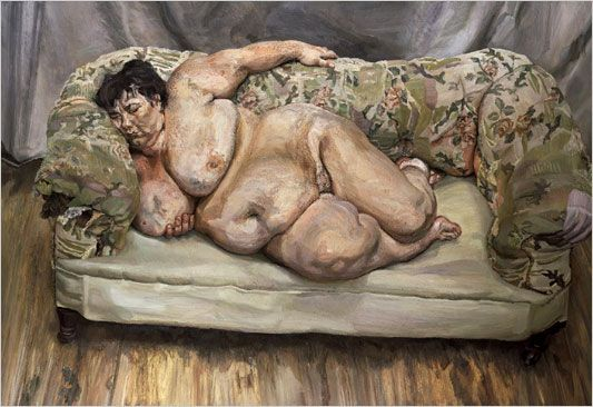 ''Sue Tilley lies languidly on the sofa in a bohemian artist's studio, far removed from her day job as a civil servant working for the Department of Social Security. Freud was initially fascinated by her size, however as time passed her proportions became more ordinary to him. Freud's portraits of Tilley are a celebration of flesh and as feminine as Manet's Olympia or the Rokeby Venus by Velázquez, although far less idealised.''