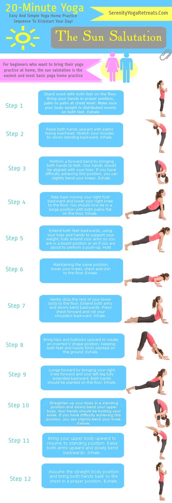 Yoga For Beginners -- The Sun Salutation. Perfect to do one after the other