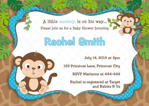 Blue Monkey Boy Baby Shower Invitation by CuddleBugInvitations, $10.00