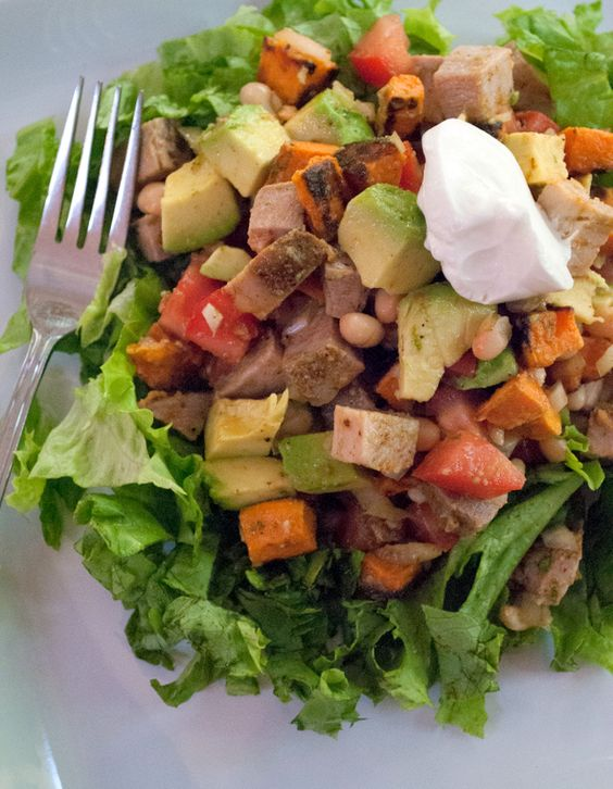 Chopped Salad with Pork, White Beans, Avocado and Cajun Lime Dressing - Mother Rimmy's Cooking Light Done Right