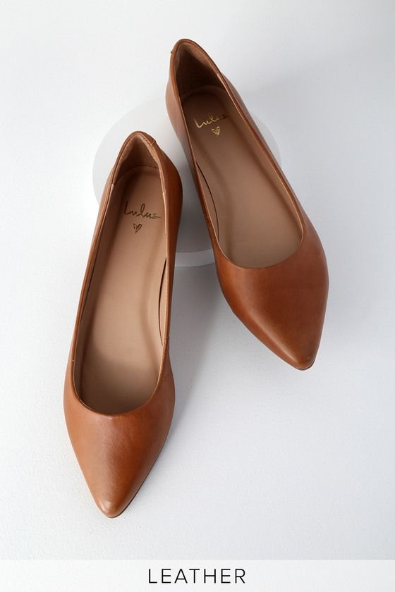 Lulus | Holly Leather Cognac Pointed Toe Flats | Size 7.5