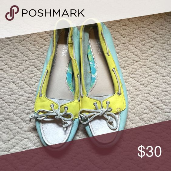 Sperrys Gently used yellow, turquoise and white sperrys. Sperry Shoes Flats & Loafers