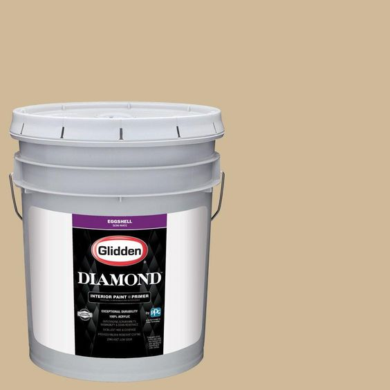 Glidden Diamond 5 gal. #HDGO63D Historic Tan Eggshell Interior Paint with Primer
