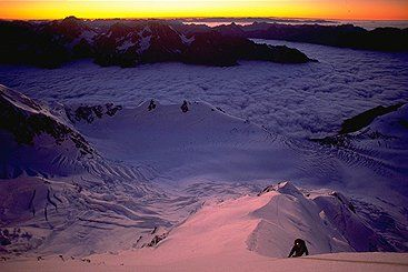 First light on the east ridge of Mt Cook.